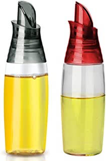Gmisun 2 Pack Olive Oil Dispenser Bottle with Automatic Flip Lid Dripless Glass Oil Bottle for Kitchen Oil and Vinegar Cruet 12 Ounce Grey Red and Grey