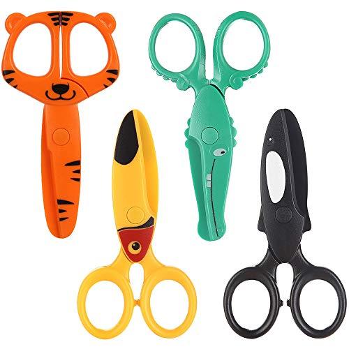 AODOOR 4 tijeras de seguridad para niños, tijeras de papel, tijeras de seguridad para manualidades, tijeras para preescolares para cortar papel, tijeras de plástico para manualidades con lindo animal