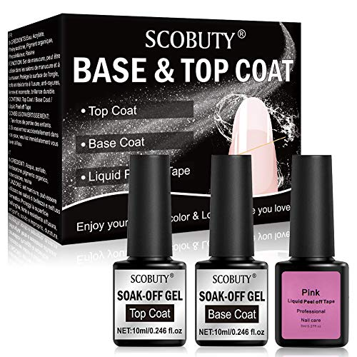 Gel Nagellack,Top Coat and Base Coat,UV Überlack & Unterlack Set,Gel überlack Unterlack Nagellack UV LED für Nageldesign Gel Polish für Salon & Home Use 3PCS