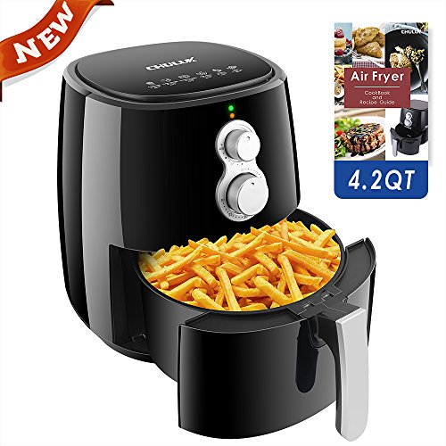 CHULUX Electric Air Fryer with Recipe,4.2 Quart Family Sized Oil-free Cooking Fryer with Timer and Temperature Control Up to 400℉,Detachable Dishwashable Pan with Baking Tray and Grill,Auto Shut Off