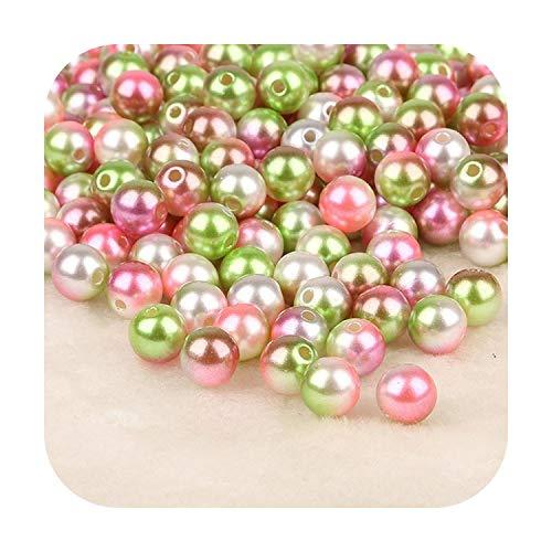 Accessorie 50 – 500 cuentas redondas sueltas de perlas de imitación de 4 6 8 10 12 mm, hechas a mano para hacer collares y pulseras 8mm 100pcs Color 1