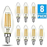 LED B10/B11 Candelabra Light Bulbs, Soft White 2700K, 500 Lumen, E12 Base, Chandelier LED Edison Bulbs, Christmas Lights, 8 Packs