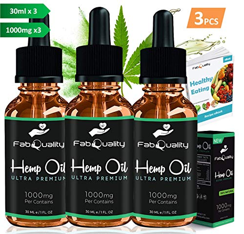 FabQuality Hemp Oil 1000mg for Pain, Anxiety, Stress & Joint Relief, Mood & Sleep Support, Natural Organic Tincture Oils Drops Extract 1 Fl Oz