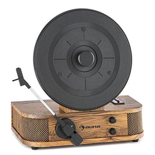 auna Verticalo S - Plattenspieler mit Lautsprecher, Schallplattenspieler, Riemenantrieb, Magnet-Puck, USB, Cinch Line-Out, Tonabnehmer-System, Ersatznadel, Retro-Design, Holzfurnier, braun