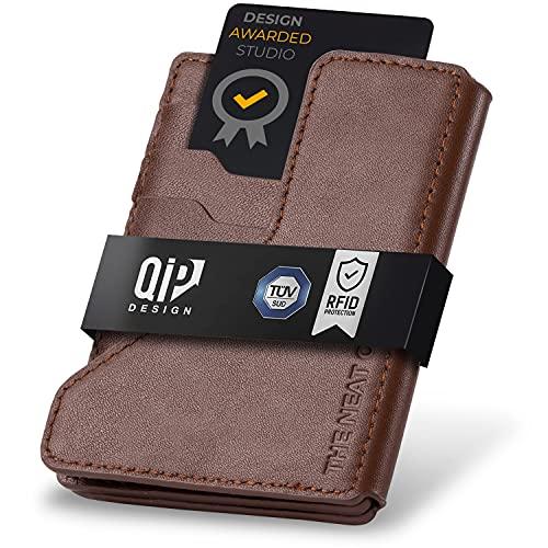 QIP® Slim Wallet mit Münzfach [RFID Schutz] - Edles Echtleder Karten Portmonnaie - TÜV-GEPRÜFT Kreditkartenetui für Herren - Geldbörse Herren klein Smart Wallet Mini Wallet