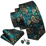 GPZFLGYN Corbata de seda de Paisley verde azulado, corbata de cuello floral dorada para hombre, traje, boda, negocios, regalos para novio, corbata, pañuelo, diseño de conjunto de gemelos