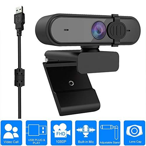 Webcam, Autofokus 1080P USB Webcam mit Mikrofon, Streaming-Computerkamera für Mac PC Laptop Videoanruf Skype-Konferenzen Gaming Live mit Privacy Shutter