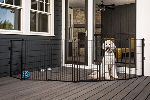 Carlson Pet Products 3-in-1 Extra Tall Weather-Resistant Outdoor 144-Inch Wide Pet Gate, Pen and Fence, Bonus Includes Small Pet Door