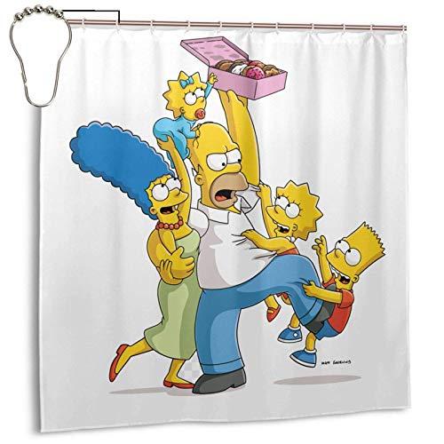 Simpsons Duschvorhang Wasserdichtes Badezimmerdekor mit Edelstahlhaken 72x72In
