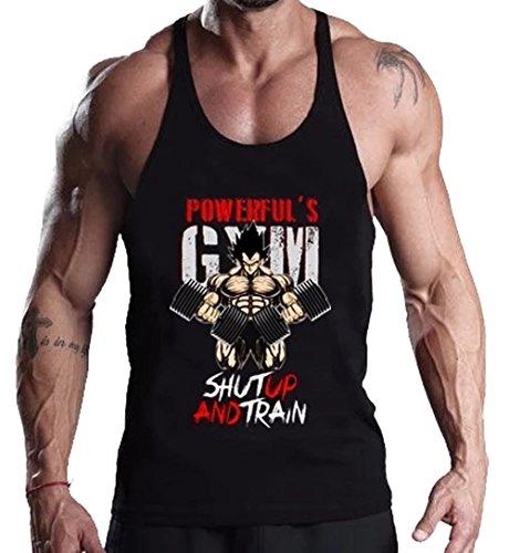 A. M. Sport Camiseta de tiantes Deportiva Fitness de Hombre para el Gym y Entrenamientos de Alta Intensidad. (Goku Mancuernas) - XL