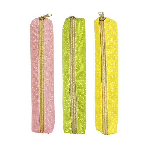 ALLYDREW Small Slim Pencil Case Slim Polka Dot Pencil Pouches (Set of 3) - Green, Pink, Yellow