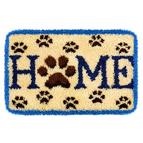 Latch Hook Kits DIY Cushion Cross Stitch Kits Embroidery for Adults Beginner DIY Needlework Rectangle Floor Desk Mat Home Decoration (Home)