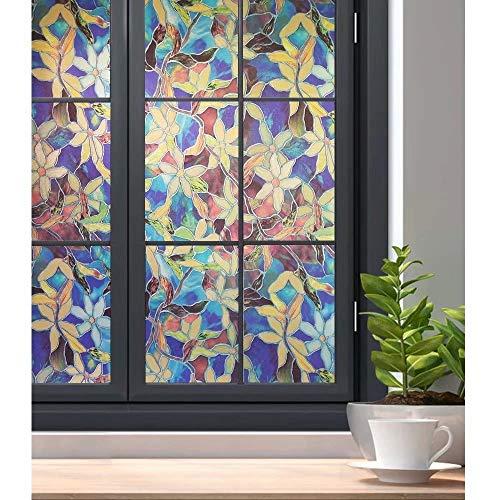 Bathroom Privacy Window Film Glass Sticker, Stained Glass Window Film Privacy Static Cling Decorative Glass Film Pattern Window Blackout Film W23.6 x L35.4 Inch