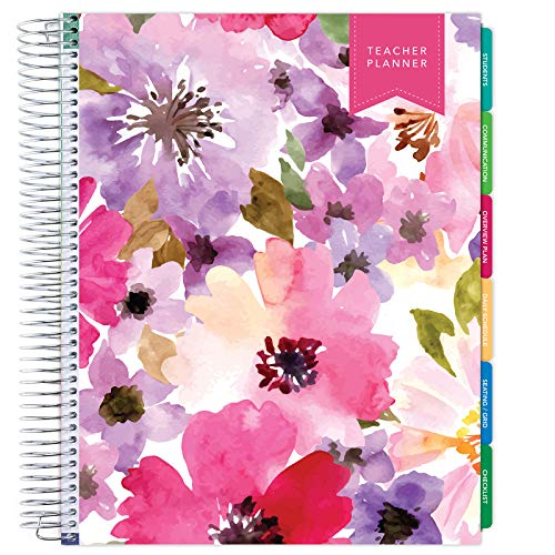 Deluxe Undated Teacher Planner: 8.5'x11' Includes 7 Periods, Page Tabs, Bookmark, Planning Stickers, Pocket Folder Daily Weekly Monthly Planner Yearly Agenda (Spring Floral)