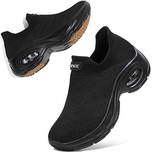 Sixspace Zapatos de senderismo para mujer – Calcetín zapatillas sin cordones para mujer, negro (All Black-497), 38 EU
