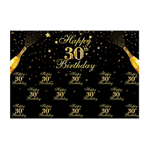 Vosarea 30e verjaardag achtergrond zwart en goud glitter Bokeh vlekken 100x150cm Gelukkige verjaardag partij achtergrond Vinyl fotografie doek Abstract Banner voor taart tafel decoratie Photo Boot, Afbeelding 1, 100*150cm
