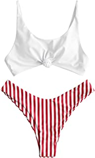 ZAFUL Women's Contrast Front Knot Striped Bikini Set 2 Piece High Cut Swimsuits
