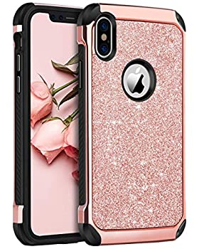 BENTOBEN iPhone X/10 Case iPhone Xs  2018  Shockproof Glitter Sparkle Bling Girl Women 2 in 1 Shiny Faux Leather Hard PC Soft Bumper Protective Phone Cover for Apple iPhone X/XS 5.8  Rose Gold/Pink