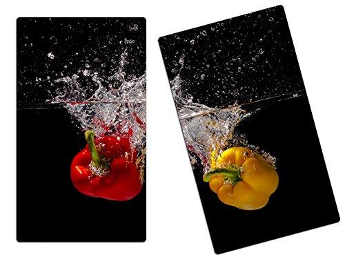 Herdabdeckplatte Schneidebrett Spritzschutz aus Glas, Multi-Talent HA74483450 Paprika Variante 2er Set (2 Panels)