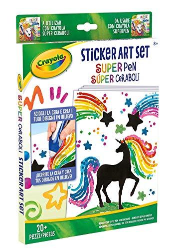 Crayola. Ricambio Sticker Art Set Unicorno Super Pen SCIOGLI LA Cera E Crea I Tuoi Disegni Regalo