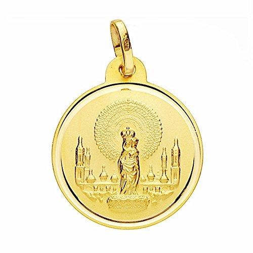 Medalla Oro 18K Virgen Del Pilar 20mm. Lisa Bisel [Aa2535]