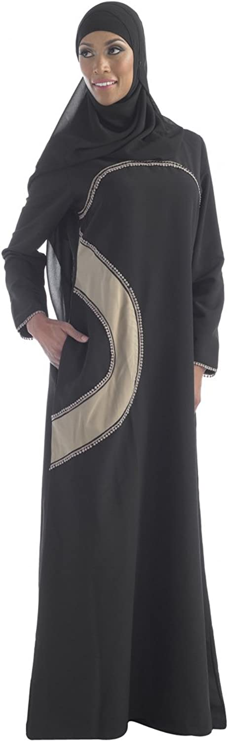 Black abaya with beige patch on hip embroidered chest and side pockets