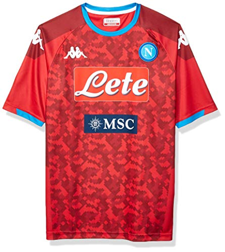 Italian Serie A SSC NAPOLI Men's Home Replica Goalkeeper Match Shirt, Red, XXL
