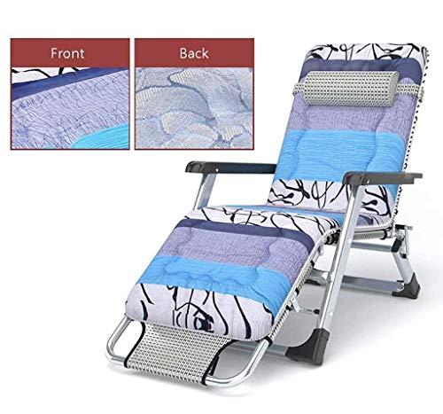 Utdoor Oversized Zero Gravity Chair, klappbare Patio Lounge, verstellbare Liege mit rutschfestem Baumwollpolster, Beistelltisch, 400 lbs Gewichtskapazität, blau und braun, mit Eisseidenpolster