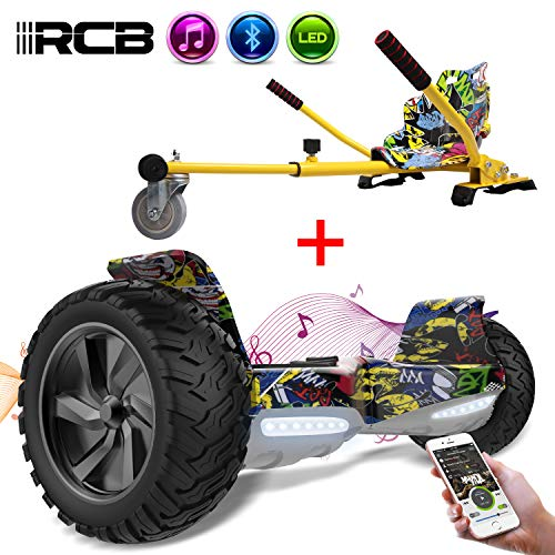 RCB Hoverboard SUV Scooter Eléctrico Patinete Auto-Equilibrio Todo Terreno 8.5 '' Patinete Hummer Bluetooth App + Hoverkart Asiento Kart para Hoverboard