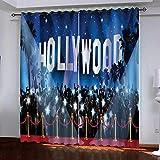 LOVEXOO Blackout CurtainEtapa de vítores Cortinas Opacas Aislamiento Térmico con Aislamiento Cortina para Dormitoriocon Ojales,2 Paneles 117x138cm(An x Al)