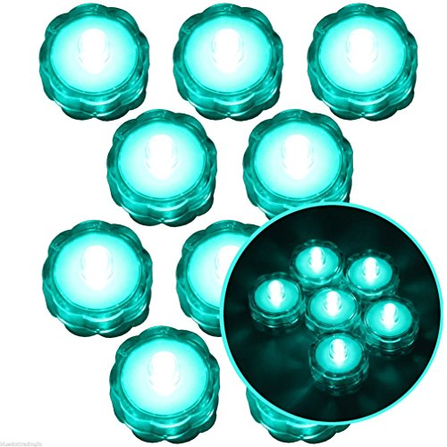 Moondon Submersible Waterproof Battery LED Tea Light Wedding Decoration Turquoise 10 Pcs