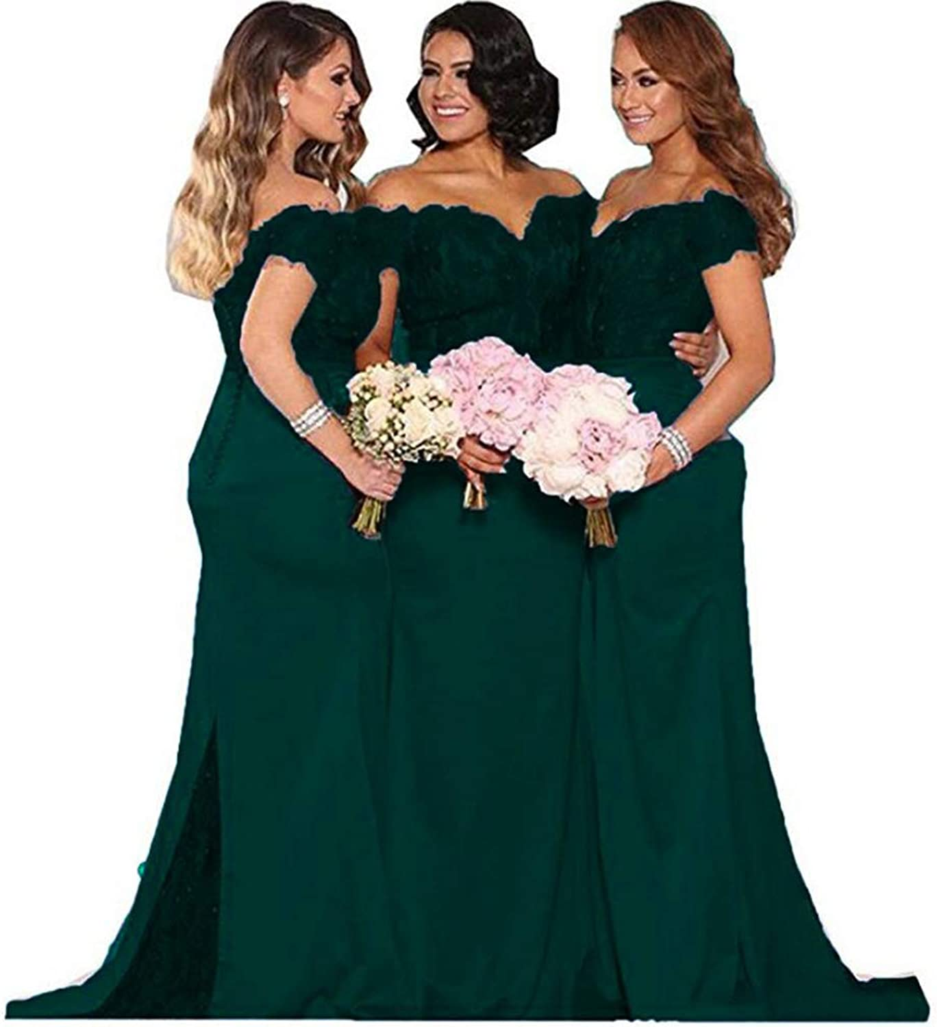 Fanciest Women's Lace Bridesmaid Dresses Long 2018 Formal Mermaid Maid of Honor Gowns