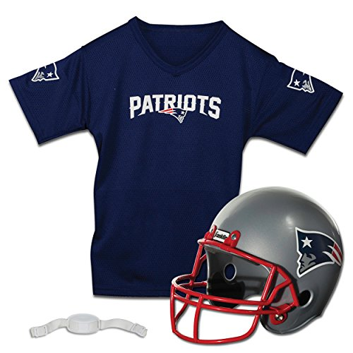 Franklin Sports NFL New England Patriots Kids Football Helmet and Jersey Set - Youth Football Uniform Costume - Helmet, Jersey, Chinstrap - Youth M