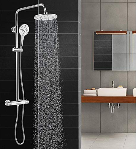 Solepearl Thermostat Shower System, Wall Mounted Circular Chrome Bathroom Shower Mixer with Rainfall Shower Head, Handheld Shower, Wall Rail, Water-Saving, Scalding Protection