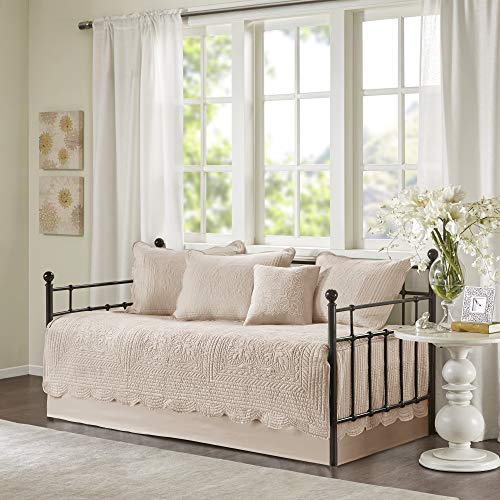 Madison Park Daybed Cover Set-Trendy Damask Quilting with Scalloped Edges All Season Luxury Bedding with Bedskirt, Matching Shams, Decorative Pillow, 75'x39', Tuscany Blush, 6 Piece