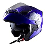 1Storm Motorcycle Modular Full Face Helmet Flip up Dual Visor Sun Shield: HB89 Glossy Blue