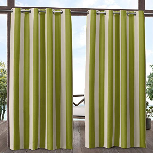 Exclusive Home Curtains Canopy Stripe Indoor/Outdoor Grommet Top Curtain Panel Pair, 54x108, Kiwi/Sand