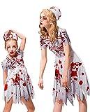 IKALI Disfraz de enfermera zombi para niña, disfraz de Halloween para niños Walking Dead, traje para mamá y yo hospital, uniforme para fiesta temática, 3 unidades