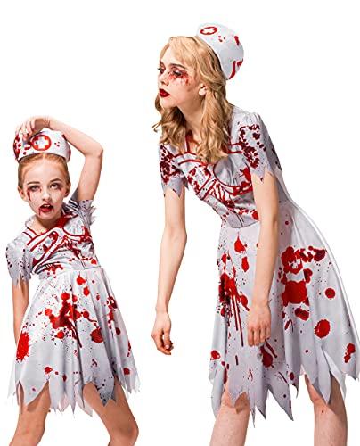 IKALI Disfraz de enfermera zombi para nia, disfraz de Halloween para nios Walking Dead, traje para mam y yo hospital, uniforme para fiesta temtica, 3 unidades