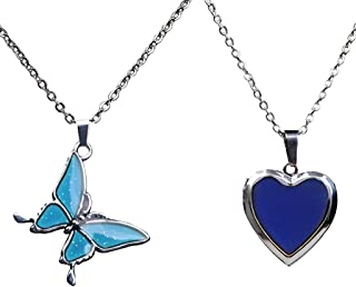 perfektchoice 2 Pcs Butterfly Heart Shaped Mood Pedant Necklace Color Change for Girl Gift