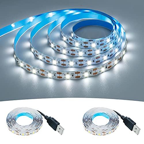 KXZM Lot de 2 rubans lumineux LED USB Blanc lumière du jour 5 V Alimenté par USB 4 m 240 LED SMD2835 Haute luminosité 6000-6500 K Non étanche IP33