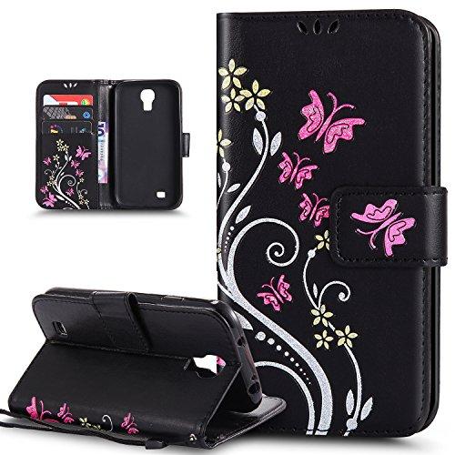 Kompatibel mit Galaxy S4 Mini Hülle,Galaxy S4 Mini Schutzhülle,Bunte Gemalt Prägung Schmetterlings Blumen PU Lederhülle Flip Hülle Ständer Wallet Tasche Case Schutzhülle für Galaxy S4 Mini,Schwarz