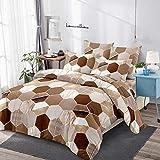 Honeycomb Bettwäsche-Set, wendbarer Bettdeckenbezug, für Kinder, Teenager, Frauen, geometrischer Sechseck-Bettbezug, moderner Marmor-Tagesdecke, Tagesdecke, metallisch, Kaffeebraun, Doppelbettgröße