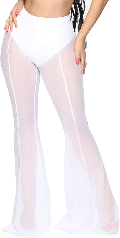 YouSexy Women's Sheer Mesh Ruffle Pants See Through Swimsuit Bikini Bottom Cover up Pants for Swimwear