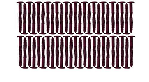 Window Shutters Panel Peg Lok Pin Screws Spikes 3 inch 60 Pack (Burgundy) Exterior Vinyl Shutter Hardware Strongest Made in USA