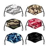6 Pack Camo Adult Camouflage Pattern Unisex Fashion Cotton Fabric Dustproof Reusable Washable Face Protection for Outdoor Activities