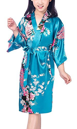 (8, Lakeblue) - Dolamen Kid's Girl's Dressing Kimono Gown Kimono Robe, Silk Satin Peacock and Blossoms Robe Bathrobe for Spa, Swimming Wedding Birthday Ages Nightwear Pyjamas