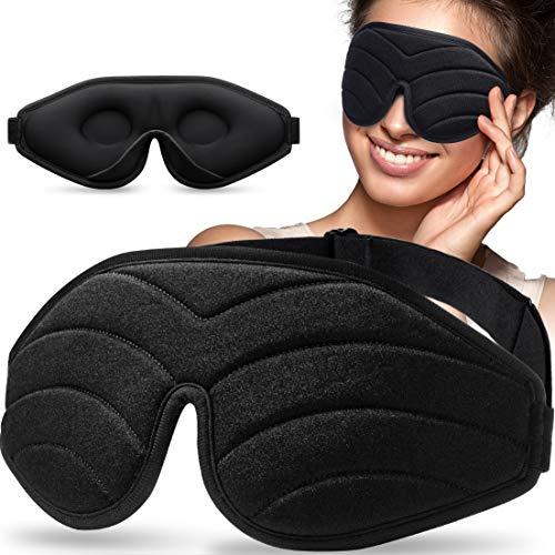 Schlafmaske zum Schlafen, Unimi 3D Konturierte Augenmaske & Augenbinde für Frauen & Männer, Superweich und Bequem, 100% Licht Blockierende 3D Augenabdeckung für Reisen, Schichtarbeit, Nickerchen
