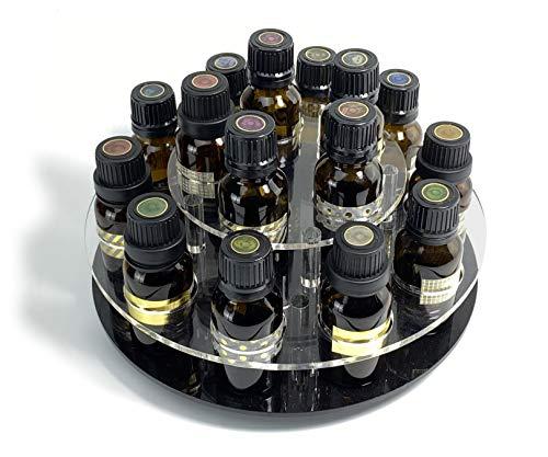 JEREVER Rotating Essential Oil Display Rack for 15 Bottles - Holds 5-15ml Oils - 2 Tier (Bottles not included)