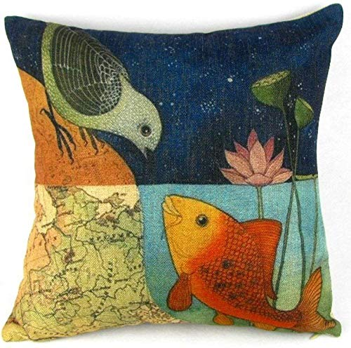 Best Decorative Bird and Fish Pillow Case